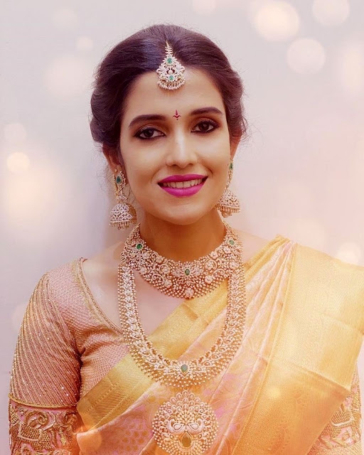 Bride in Floral Diamond Jewellery
