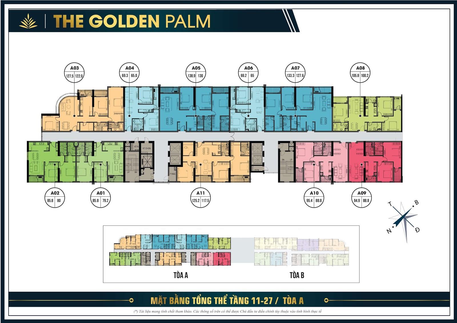 Thiết kế mặt bằng căn hộ điển hình tầng 11 đến 27 tòa A - The Golden Palm