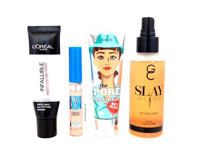 LOreal Infallible Primer, Maybelline Better Skin, Gerard Cosmetics Setting Spray