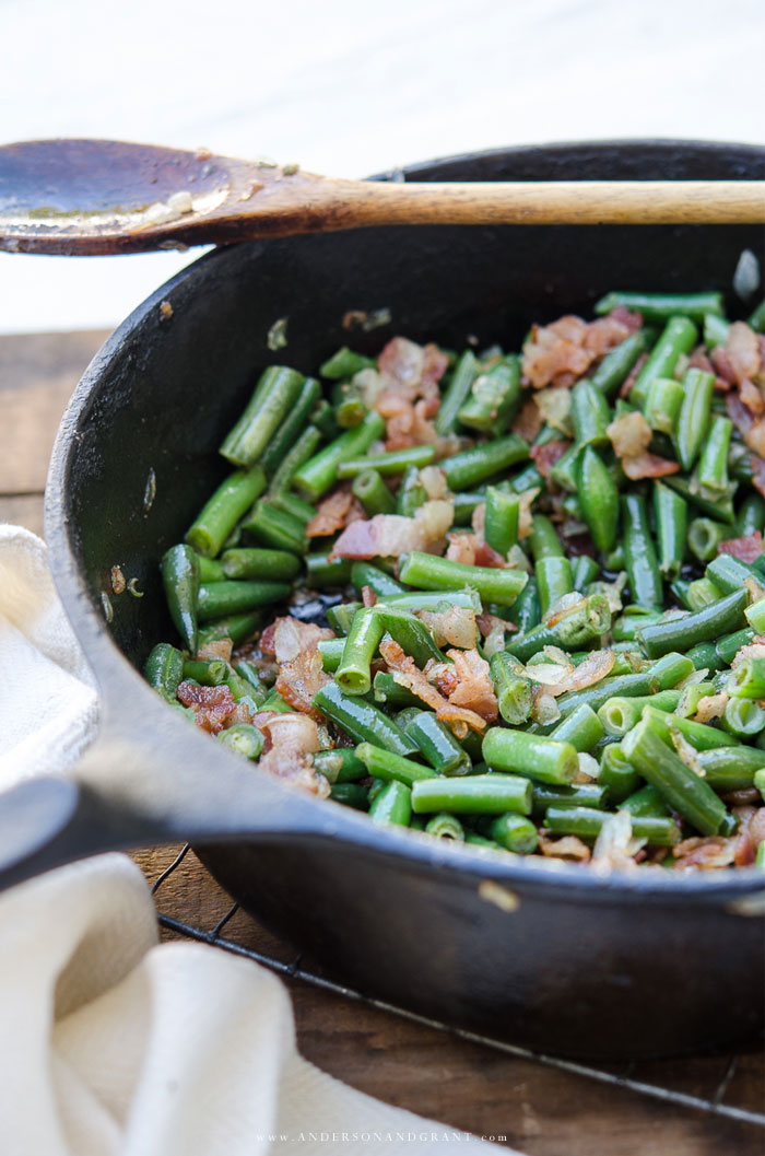 Cast Iron Skillet filled with Green Beans and Bacon