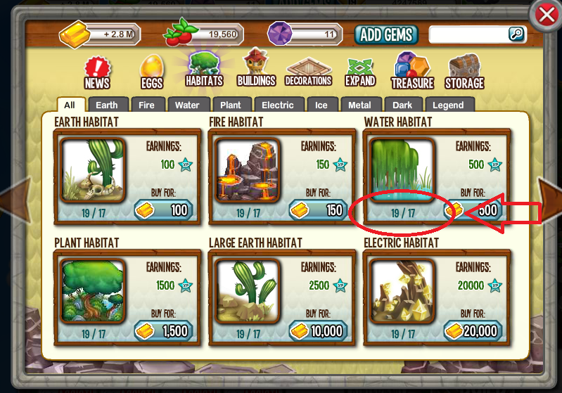 Dining Level Habitat Gems Gold Dragon City Dragon Island