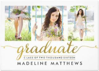 white & gold custom graduation photo invite for her