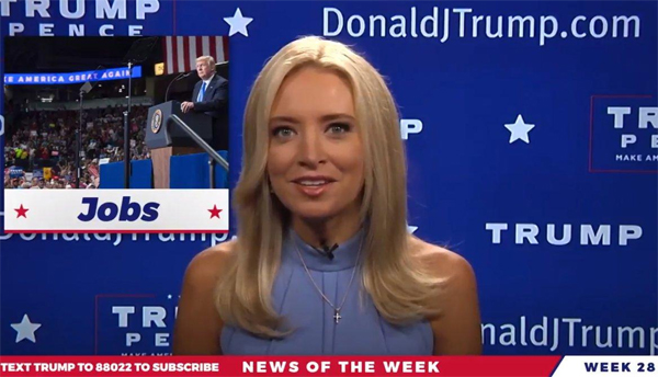 screencap of McEnany in a Trump TV video