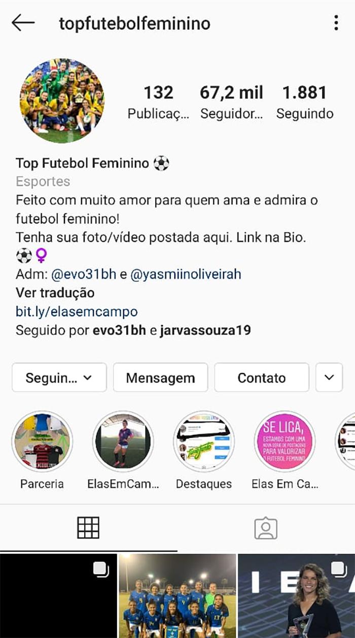 Top Futebol Feminino: 67,2k de seguidores