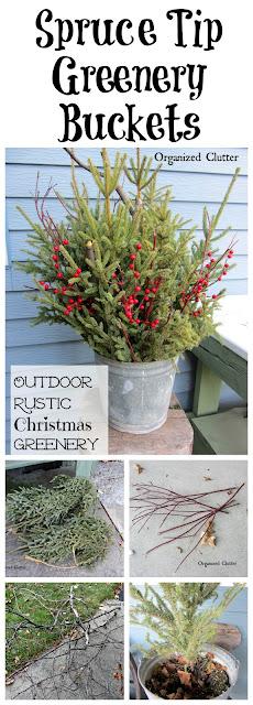 Galvanized Pails, Treetops, Twigs & Red Berries www.organizedclutter.net