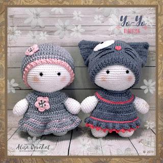 вязаный крючком пупс йо-йо кукла амигуруми yo-yo crochet doll