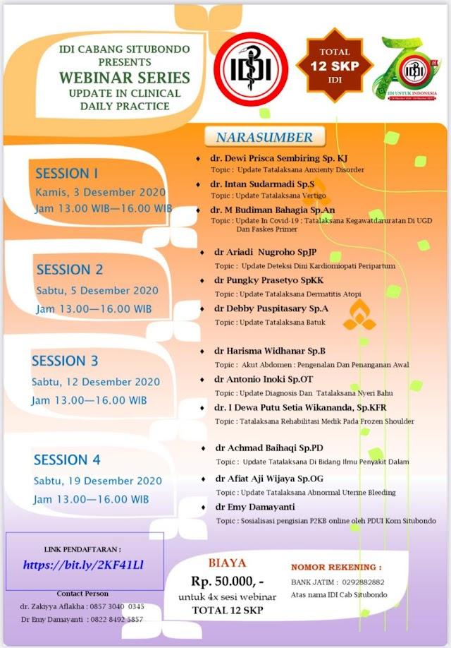 "IDI Cabang Situbondo Presents ""Webinar series Update in clinical Daily Practice"" Total 12 SKP IDI"