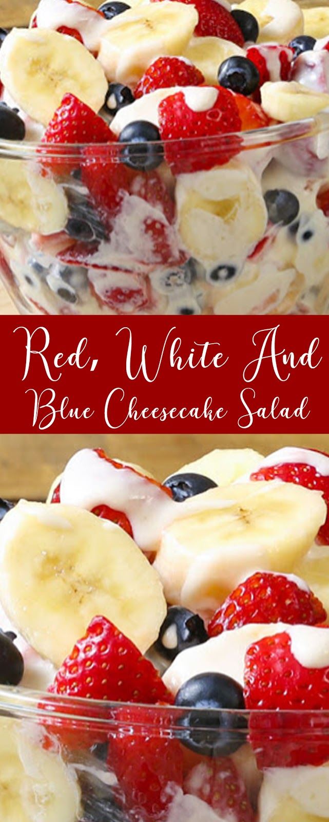 Recipe RED, WHITE AND BLUE CHEESECAKE SALAD #salad