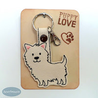 Wheaten Carin Snap Tab Dog Breed Key Fob