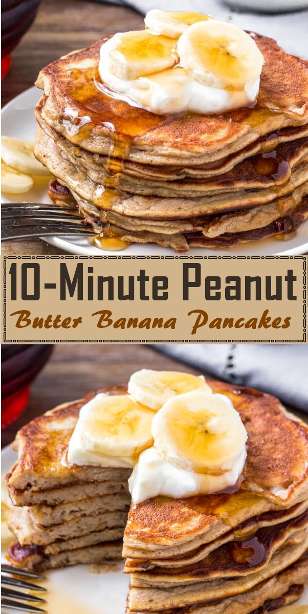 10-Minute Peanut Butter Banana Pancakes #breakfastideas