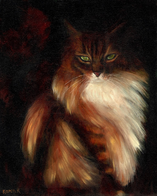 High chiaroscuro oil painting of a Maine Coon cat