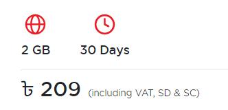 Robi 2GB internet offer 209 Tk