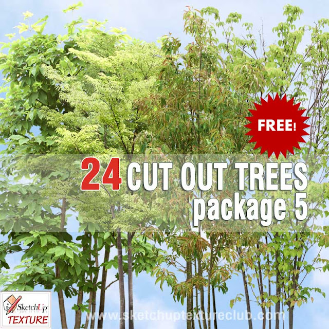 sketchup material cut out trees pack 5