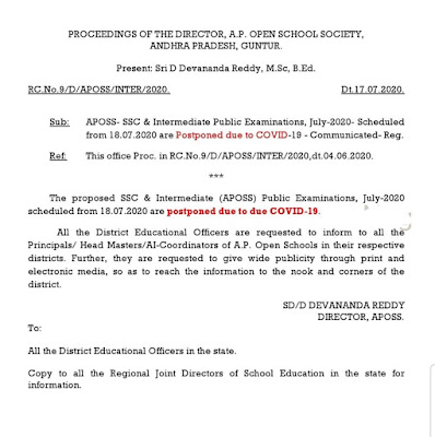 APOSS : SSC & Intermediate Examinations, July-2020 Schedule from 18-07-2020 are Postponed due to COVID-19