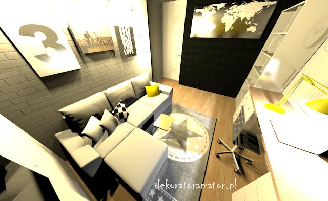 pokój nastolatka projekt wnętrza projektowanie wnętrz pokój dziecięcy pokój młodzieżowy