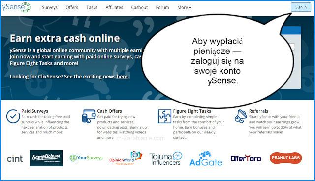 ySense, logowanie, wypłata na PayPal.