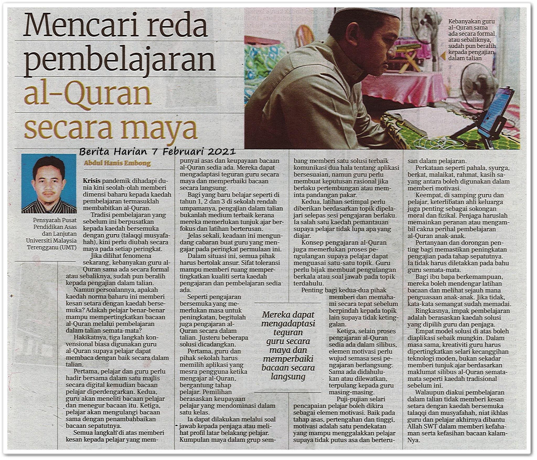 Mencari reda pembelajaran Al-Quran secara maya - Keratan akhbar Berita Harian 7 Februari 2021