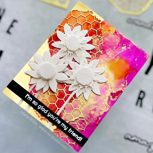 Cardbomb, Maria Willis, Tonic Studios, Tonic Studios USA, Patterns & Prints,Stamp Club,mixed media,die cutting,watercolor,stamps, stamping, cards, cardmaking, ink, paper, papercraft, video tutorial