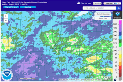Fig. 3. Percent of normal precipitation over the last 30 days as of July 5, 2018.