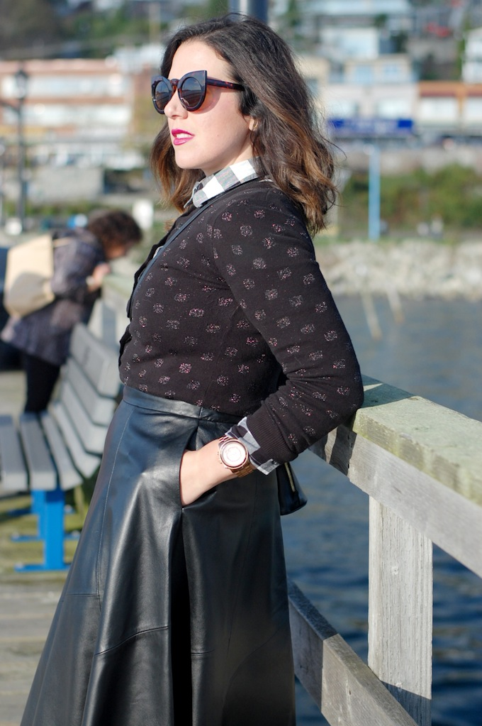 Banana Republic leather midi skirt Le Chateau cat eye sunglasses Vancouver fashion blogger