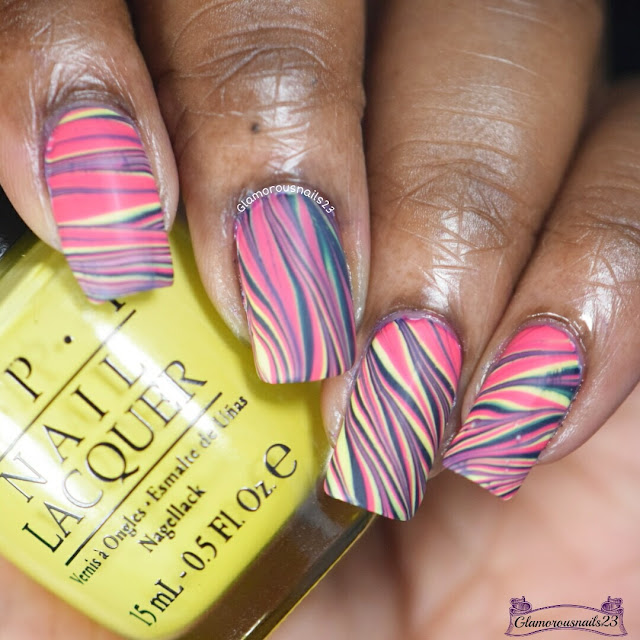 Watermarble Wednesdays: Dark Blue, Yellow & Pink
