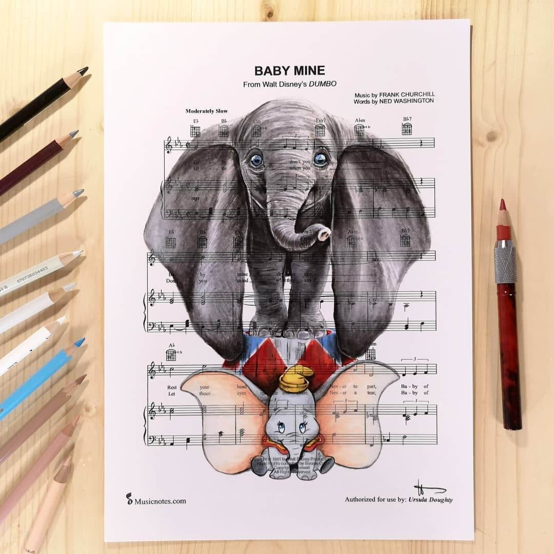 02-Dumbo-U-Doughty-Movie-Character-Drawings-on-Music-Sheets-www-designstack-co