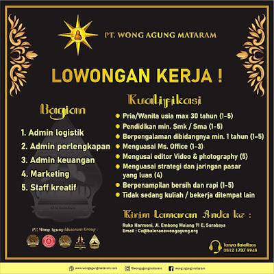 Lowongan Kerja PT Wong Agung Mataram Surabaya