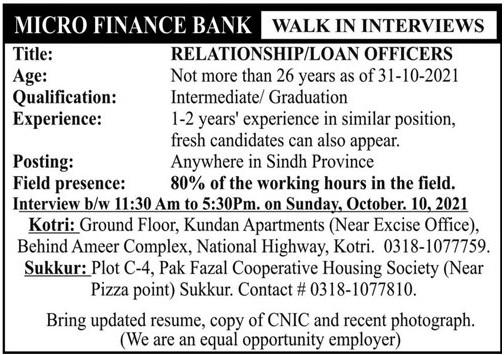Microfinance Bank Walk In Interviews 2021