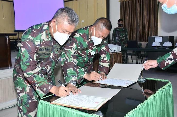 Danrem 141/Tp, Pimpin Penandatanganan Pakta Integritas Penerimaan Calon Tamtama PK Gel I TA. 2021