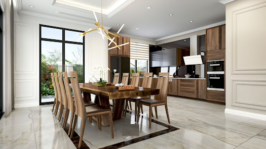 Bộ bàn ghế ăn gỗ óc chó 8 ghế