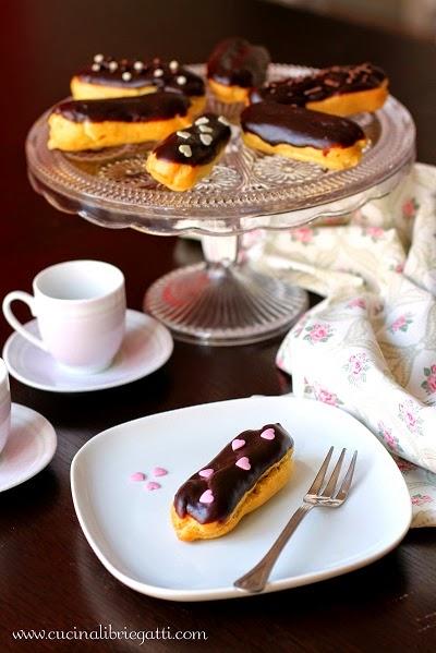 eclair bignè al crema cioccolato ricetta