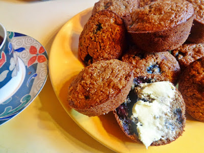 FINALLY ON THE MEND, WITH WHOLE GRAIN, LOW-FAT, LOW-GLYCEMIC LEMON, WALNUT, BLUEBERRY MUFFINS