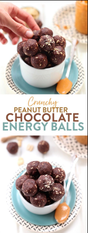 CRUNCHY PEANUT BUTTER CHOCOLATE ENERGY BALLS