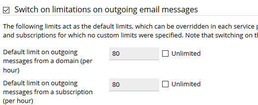 Limit the Number of Outgoing Messages in Plesk