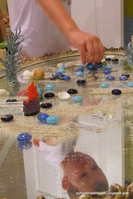 sensory play on a mirror