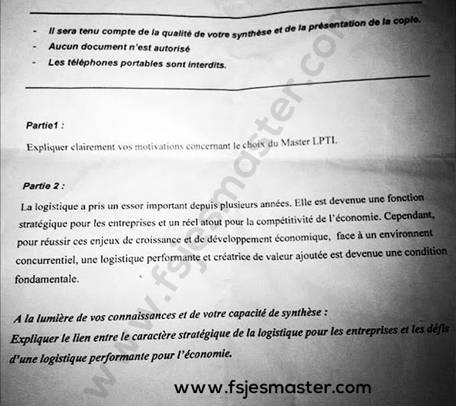 Exemple Concours Master Logistique Portuaire et Transport International - Fsjes Tanger