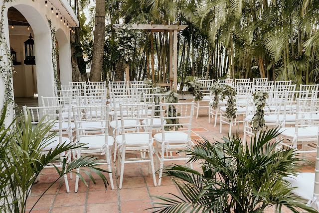 Detail shot of outdoor Ceremony area The Manor on St Lucie Crescent Wedding captured by Stuart Wedding Photographer Heather Houghton Photography