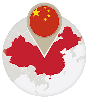 Chinese flag and map