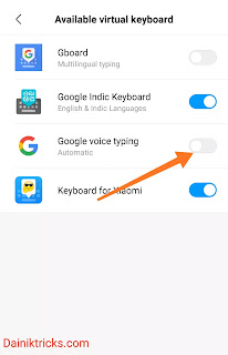 google voice keyboard  enable