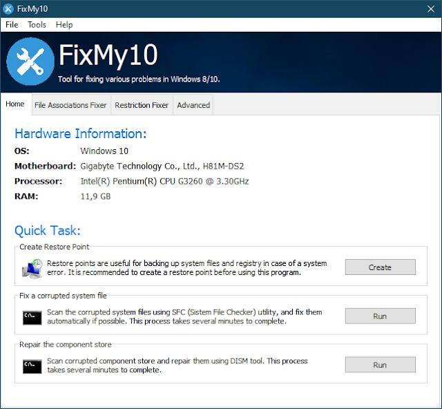 FixMy10 2.1.3 | Reparar varios problemas comunes en Windows 10