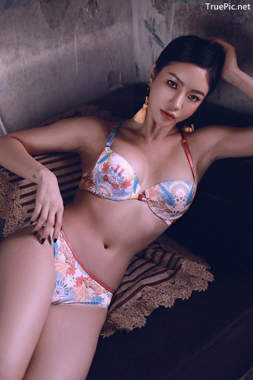 Image Korean Fashion Model - An Seo Rin - Floral Lingerie - TruePic.net - Picture-1