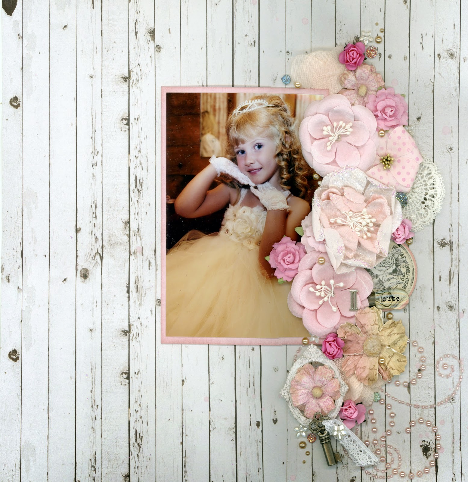 """II Cute"" by Alice Scraps Wonderland:  A boarder of pink flowers and vintage details adorn this oh so adorable photo of my cousin and flower girl, Rylee. The vintage look of the mood board perfectly matched my sister's wedding theme--clock and all!"