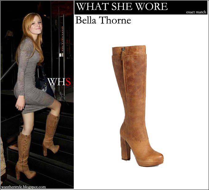 e07b3629219e WHAT SHE WORE  Bella Thorne in brown leather high heel tall boots ...