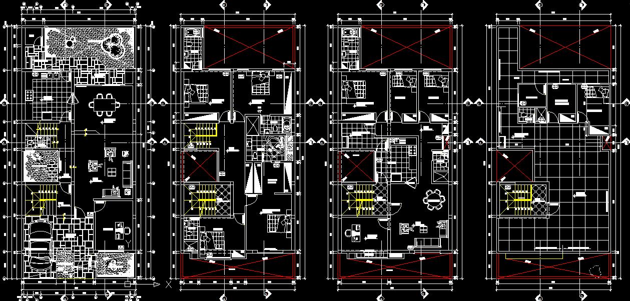 Triplex house plans with 8 bedrooms for Triplex blueprints