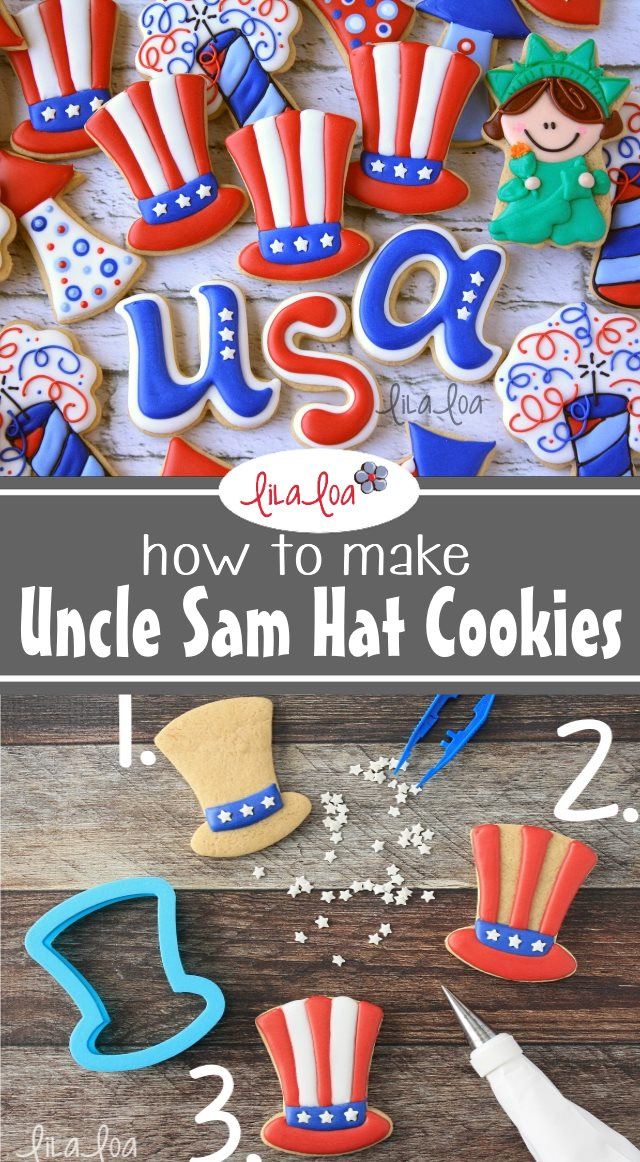 Patriotic chocolate decorated sugar cookies for the Fourth of July