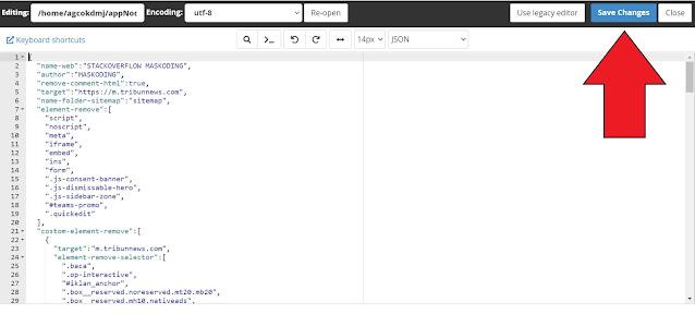 tombol save mengganti web target agc nodejs di cPanel
