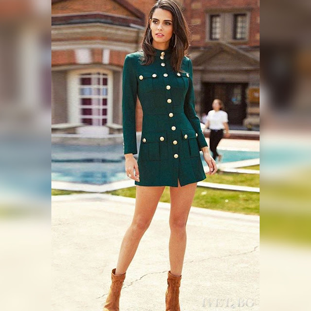 Μακρυμάνικο μεσάτο πράσινο εντυπωσιακό φόρεμα YONISA