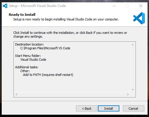 Konfirmasi proses instalasi Visual Studio Code
