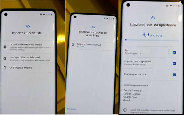 importare dati da un altro telefono Android