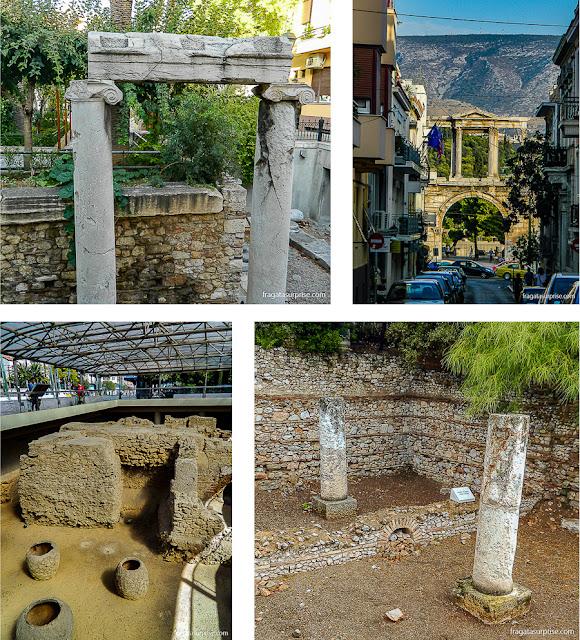 Vestígios arqueológicos na paisagem urbana de Atenas